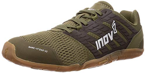 Inov-8 Mens Bare-XF 210 V2 - Barefoot Minimalist Cross Training Shoes - Zero Drop - Wide Toe Box - Versatile Shoe for Powerlifting & Gym - Calisthenics & Martial Arts - Khaki/Gum 9.5 M US