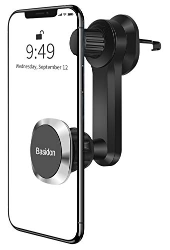 Phone Car Mount, [Upgraded Clamp] Unobstructed Car Air Vent Phone Holder Magnet 360° Rotate Arm Vehicle Phone Holder Basidon Magnetic Cell Phone Cradles Compatible with All Smartphones
