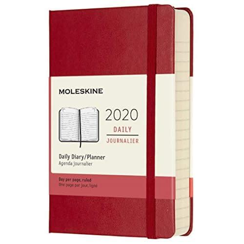 Moleskine 12 Mesi 2020 Agenda Giornaliera, Copertina Rigida e Chiusura ad Elastico, Colore Rosso Scarlatto, Dimensione Pocket 9 x 14 cm, 400 Pagine