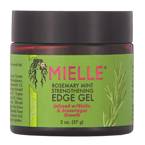 Mielle Organics Rosemary Mint Strengthening Edge Gel, Infused w/ Biotin and Encourages Growth, 2 Ounces