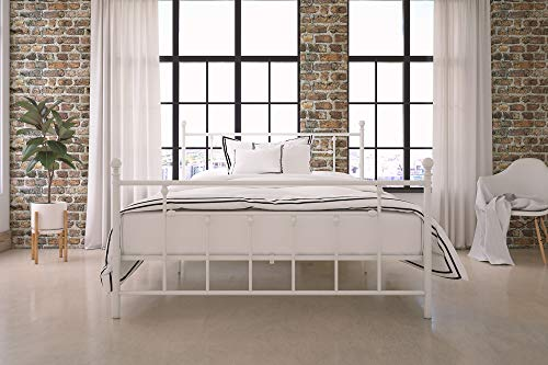 DHP Manila Metal Bed with Victorian Style Headboard and Footboard - Queen Size (White)