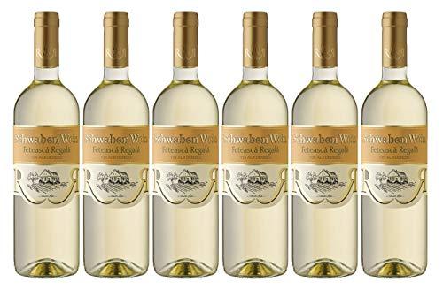 Cramele Recas | SCHWABEN WEIN Feteasca Regala – Weißwein halbtrocken aus Rumänien | Weinpaket 6 x 0,75 L + 1 Kugelschreiber