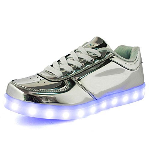 IGxx LED Light Up Shoes Light for Men High Top LED Sneakers USB Recharging Shoes LED Women Glowing Luminous Flashing Shoes Kids Silver