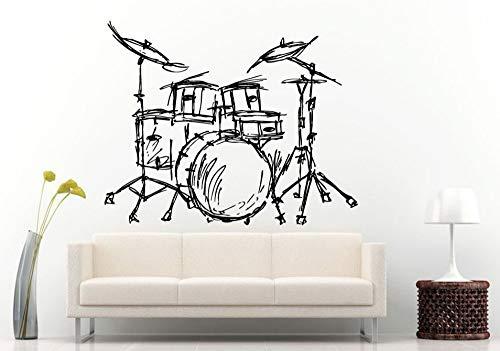 JJHR Wandtattoos Wandaufkleber Schlagzeug Silhouette Wandbild Home Wohnzimmer Dekor Musikinstrument Schlagzeug Kits Wandaufkleber Tapete Poster 42 * 46 cm