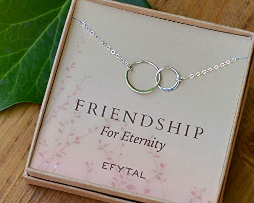 EFYTAL Best Friend Gifts, Sterling Silver Friendship for Eternity Necklace, Two Interlocking Infinity Circles Gift For Best Friend
