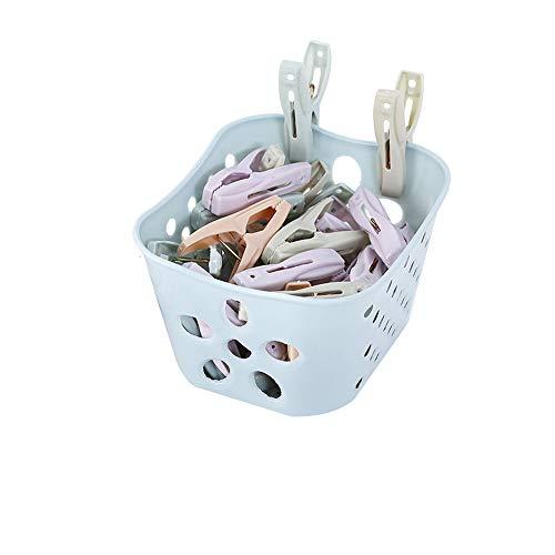 洗濯クリップ 30個入り 竿用ピンチ かご付き 収納便利 ピンチ 洗濯バサミ 可愛い 色褪せしにくい 防風 落下防止 竿用 使いやすい ランドリーピンチ (ブルー)