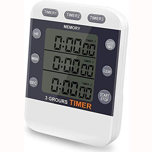 Temporizador de Cocina Digital Reloj Temporizador Triple con Cuenta atrás para Ejercicio cocinar Deportes Juegos (Color : White)