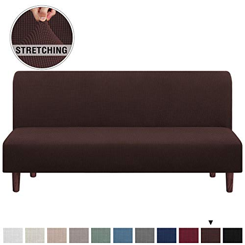 Stretch Armless Futon Cover Futon Slipcover Full Queen Size Futon Couch Cover Futon Sofa Cover Futon Bed Cover Furniture Protector with Elastic Bottom, Checked Pattern Jacquard (Futon, Brown)