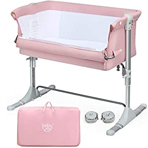 crib bedding and baby bedding baby joy baby bedside crib, portable bassinet w/carrying bag, easy folding, kids bed side sleeper for newborn infant w/detachable mattress, straps, height & angle adjustable, breathable mesh, pink