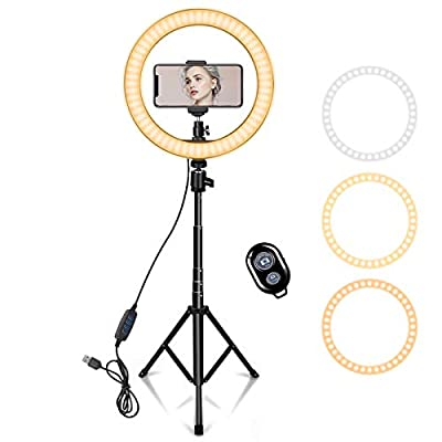 """10"""" Ring Light with 59"""" Extendable Tripod Stand & Phone Holder for YouTube Video, Dimmable Led Ring Light for Camera, Video, Makeup, Selfie Photography Compatible with Smartphone by Aixiangpai"""