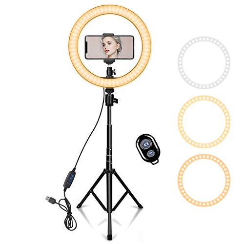10' Ring Light with 59' Extendable Tripod Stand & Phone Holder for YouTube...