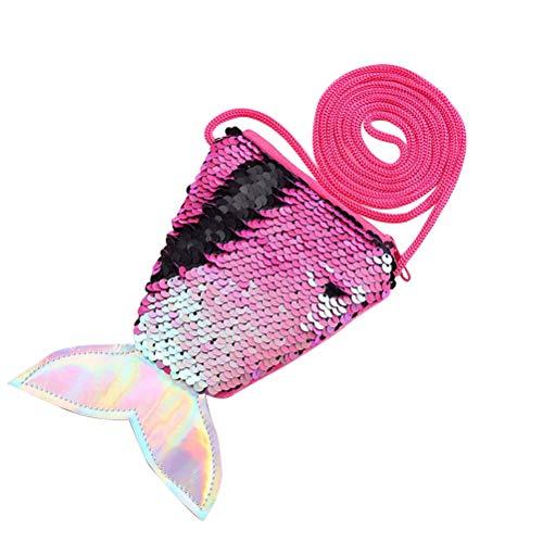 Meerjungfrau Schwanz Pailletten Geldbörse Crossbody Taschen Sling Geld Ändern Kartenhalter Geldbörse Tasche Geschenke für Frauen Mädchen (Rose Red)