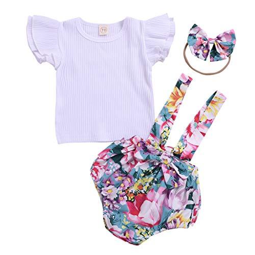 Ropa Bebe Niña Verano Fossen Recién Nacido 0 a 2 Años Tops Estampado Floral con Volantes + Pantalones Cortos + Banda de Pelo