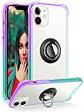DAUPIN iPhone 12 Case/12 Pro Case Clear with 360 Rotatable Ring Kickstand for Magnetic Metal Car Mount, Soft TPU Bumper PC Hard Back Protective Phone Case for Apple iPhone 12/12 Pro (Purple Green)