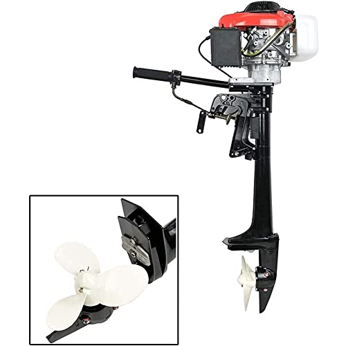 TABODD 4 Stroke 4HP Outboard Boat Engine Motor, 4 HP 57CC Marine Boat Motor Engine with Air Cooling System and CDI Ignition for Small Boats Inflatable Fishing Boats - 360 Degree Steering Rotation