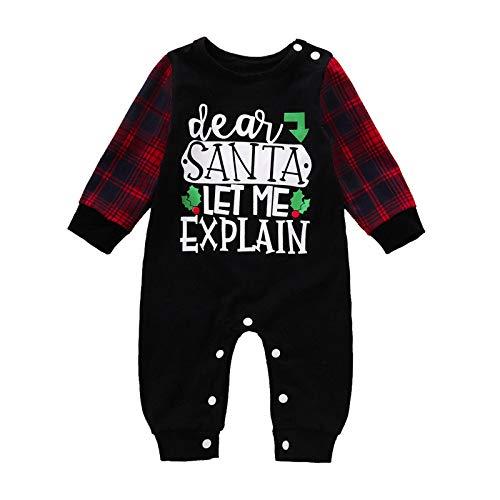 WAOTIER Mono de Navidad para niños pequeños de 0 a 12 meses, manga larga, pantalón y Papá Noel impreso, pantalones de invierno con botón, pañales fáciles de cambiar Negro 100 cm