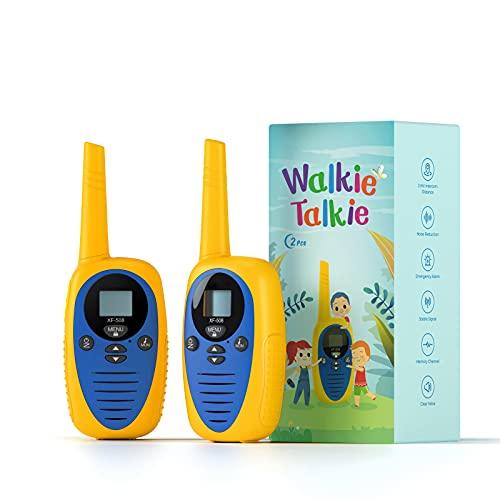 Walkie Talkie Kinder Funkgerät Kinder-Spielzeug für 3-12 Jahre alte Jungen Mädchen, Clear Sound 1,86 Meilen Reichweite 22 Kanäle LCD Display, Kinder Walkie Talkie für draußen Camping Wandern, 2er Pack