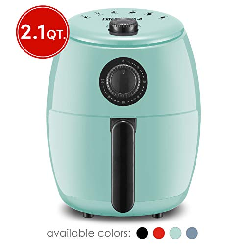 Elite Gourmet EAF-0201BL Personal Compact Space Saving Electric Hot Air Fryer Oil-Less Healthy Cooker, Timer & Temperature Controls, PFOA/PTFE Free, 1000-Watts with Recipes, 2.1 Quart, Mint