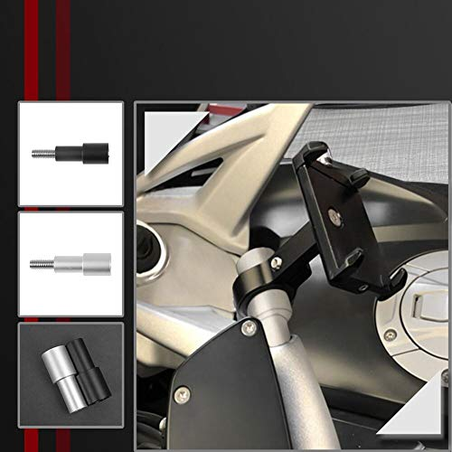 Lorababer Motocicleta CNC Aluminio Soporte para teléfono móvil Soporte de navegación GPS Soporte de montaje Modificación para B.M.W K1600GT K1600GTL R1200RE R1200RT R1250RS R1250RT (Plata)
