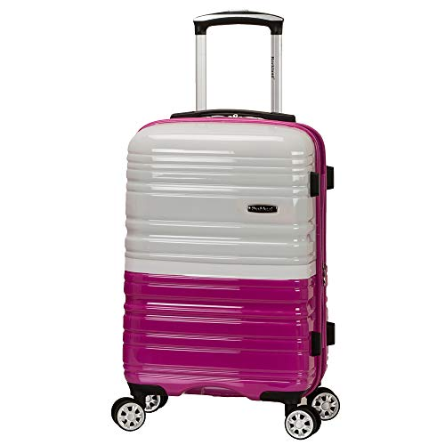 Rockland Melbourne Hardside Expandable Spinner Wheel Luggage, Two Tone Magenta, Carry-On 20-Inch