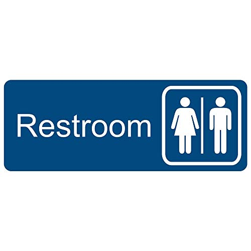 Restroom Engraved Sign with Symbol, for Restrooms, 8x3 in. White on Blue Plastic by ComplianceSigns