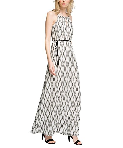 ESPRIT Collection Damen 056EO1E011-aus Baumwolle Kleid, Mehrfarbig (Off White 110), 40