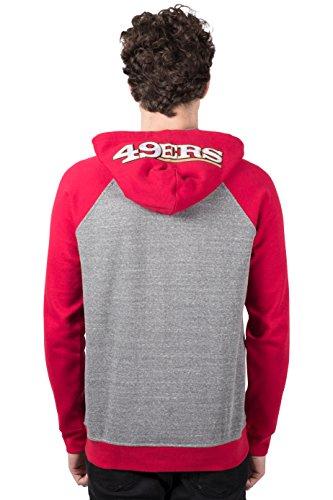 Ultra Game NFL San Francisco 49ers Mens Full Zip Soft Fleece Raglan Hoodie, Team Color, Small