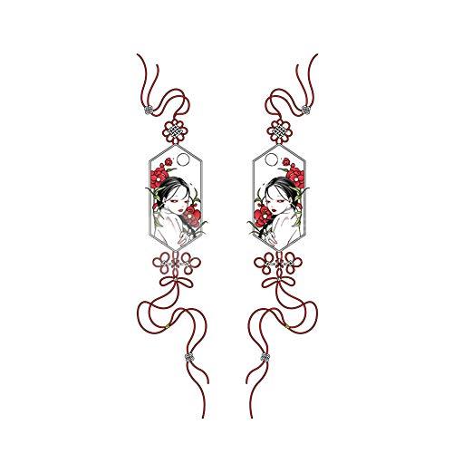 2 feuilles chinois noeud fille tatouages temporaires autocollants bras dos Art corporel pour Fête costumée couvrant les cicatrices
