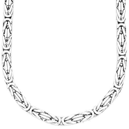 .iced-out. Sterling 925er Silber Königskette - BYZANTIN 6x6mm - 80cm
