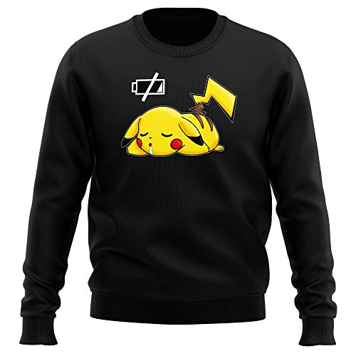 Okiwoki Pull Noir Pokémon parodique Pikachu : Batterie à Plat ! (Parodie Pokémon)