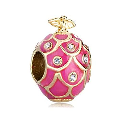 Pandora 925 Colgante De Plata Esterlina Diy Plateado Oro Rosa Rosa Goteo De Goma Pájaro Cristal Fabergé Cuentas De Encanto De Huevo Pulsera De Ajuste