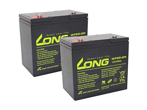 Akku kompatibel Sterling S425 24V Elektromobil 2X 12V 55Ah AGM Blei Batterie