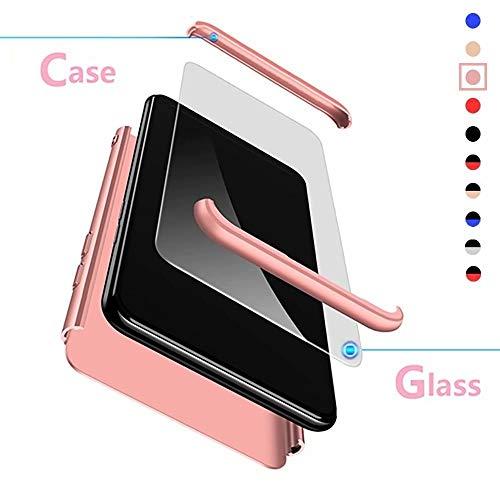 Compatible para Xiaomi Redmi Note 5A Prime/Redmi Y1 Funda(2017)+3D Vidrio Templado Protector de Pantalla/Caja Ultra Fina Silicona Caso Bumper 360° Protectora Cojín Carcasa-Oro Rosa
