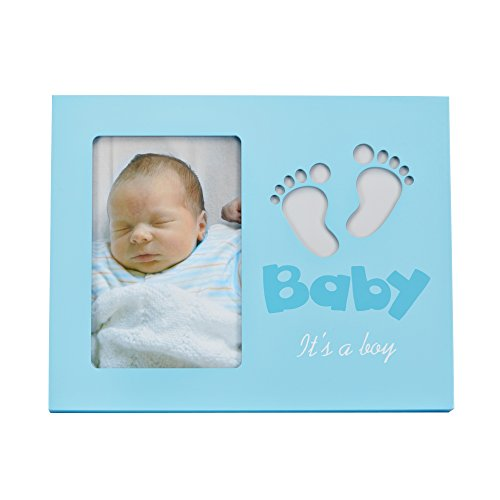 LED baby photo frame - LED Baby Fotorahmen - Baby Bilderrahmen mit LED Beleuchtung Fuß-Motiv - It`s a boy