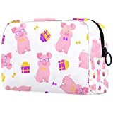 Cosmetic Bag Travel Toiletry for Women Daily Portable Zipper Closure Makeup Bag,Pig Sits In Glasses