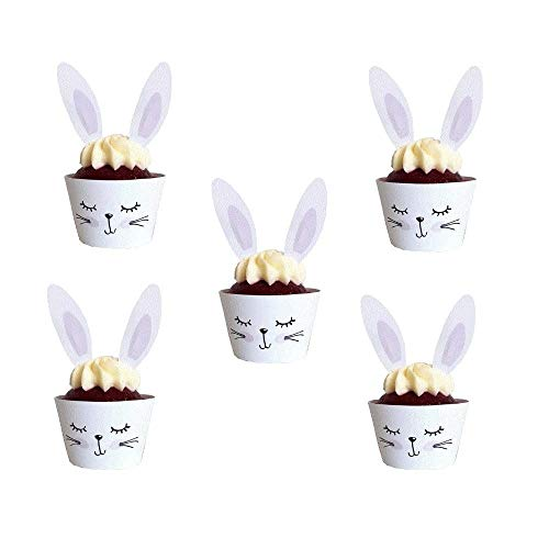 Easter Bunny Cupcake Wrappers and Toppers 24 Piece Decorations Kit for Birthday Party Supplies Easter Rabbit Egg Themed Baby Shower