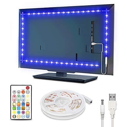 TV Led Backlight 8.3ft, Waterproof RGBW TV Backlight, 65536 DIY Static Colors TV Led Light Strip, 30mins Timing Off Led Strip Lights, 5V USB Powered LED Rope Lights Kits for 42-50in TV Monitor