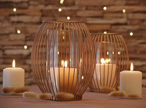 Azra Home Zeitloser Kerzenständer mit Glas 2er Set, 17x19,5cm und 14,5x17cm, Kerzenhalter, Vintage Deko, Metall Deko Kerzenleuchter, Windlicht Glas, Wohnzimmer Deko, Weihnachten Deko, Kupfergold