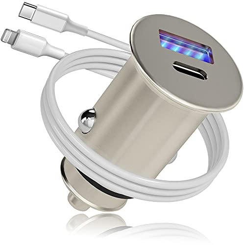 Cargador de Coche Tipo C, Metal 38W PD&QC 3.0 Dual USB Mechero Coche con LED Azul, Adecuado para i-Phone,Gala-xy y Otros Teléfonos Inteligentes y Tabletas iOS y Android,con 1 Cable USB C a Light ning