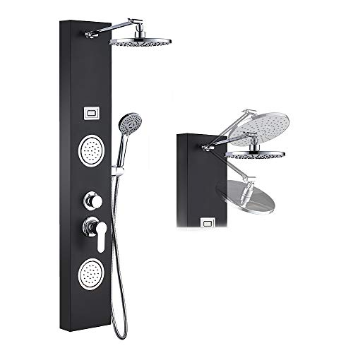 Great Deal! ROVOGO Stainless Steel Rainfall Shower Panel Tower System, 9-inch Round Head Shower + 2 ...