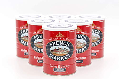 French Market Coffee, Coffee and Chicory, Dark Roast Ground Coffee, 12 Ounce Metal Can (Pack of 6) - SET OF 2
