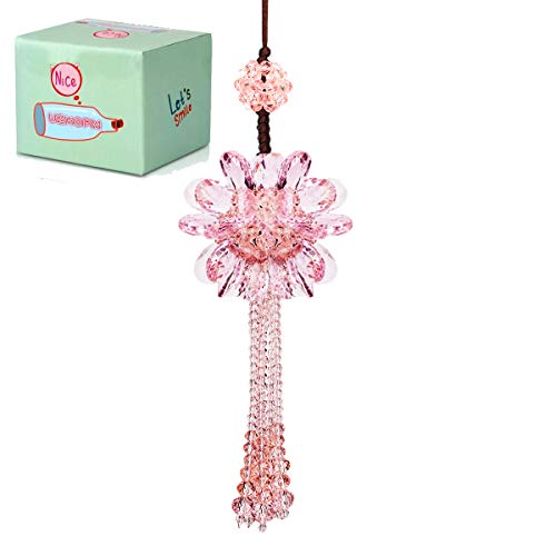 Crystal Flower Car Hanging Ornament Car Rear View Mirror Pendant Car Accessories Home Party Decor (Pink)