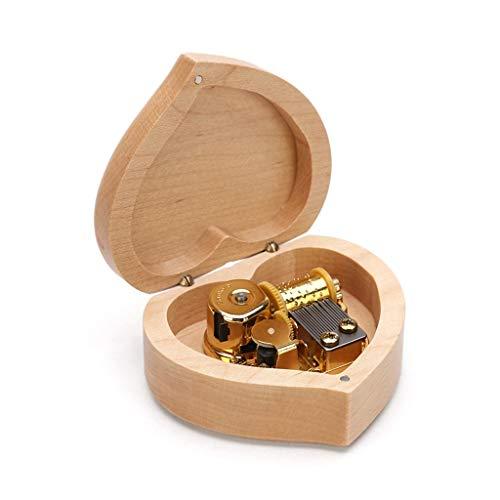 Caja Musical Caja de música en Forma de corazón Forma Forma de Madera Caja de música Castillo en el Cielo Día de San Valentín Regalo para niños Sala de Estar Decoración (Color : Brown)