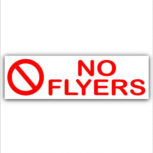 Platina Plaats 1 x No Flyers-RED op WHITE-brievenbus Waarschuwingshuis Sticker-zelfklevende Vinyl-Deur, opmerking, Junk, Mail, Koud, bellen