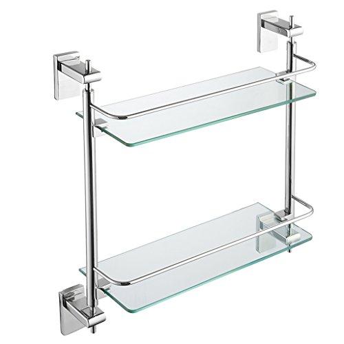 ZHEN GUO Étagère en verre flottante moderne de 2 rangées avec le rail poli d'acier inoxydable de SUS304 de chrome, vis de stockage de douche fixées au mur pour la salle de bains