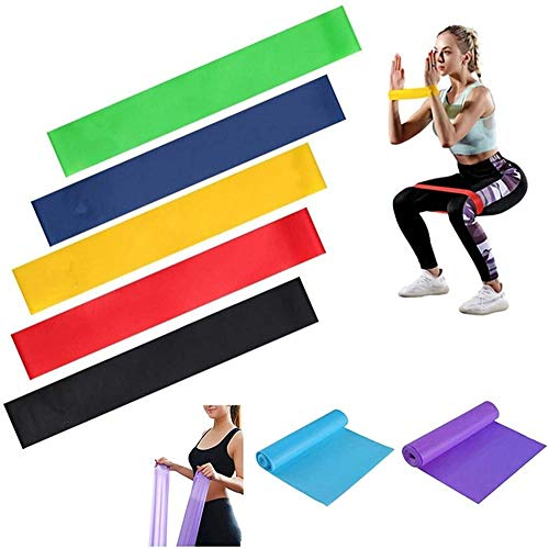 LHYLHY 7 PCS/Set Colorful Anti Slip Resistance Bands Sets Gum Fitness Equipment Stretching Rubber Loop Band for Yoga Training Workout Exercise