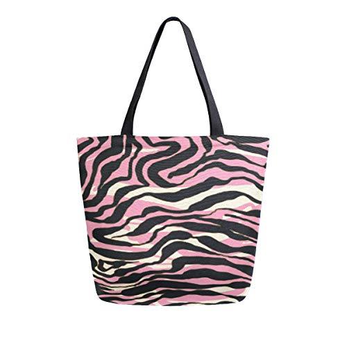 Bolso de mano con asa superior para el hombro, diseño de leopardo de cebra