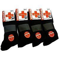 Medical 6+6=12 Pares Calcetines Hombre Negro Talla 40/46 Anti-PRESIÓN Anti-estres Anti-ácaros, pies sensibles, 100% Hilo algodón