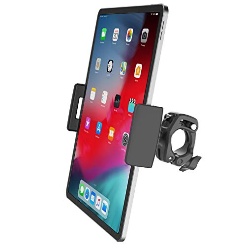 2 in 1 Tablet Phone Holder for Spin Bike, APPS2Car Quick Adjustable Clamp Mount for Exercise Bike, Stationary Bike, Indoor Cycling Gym Riding, Bike Trainer iPhone Stand Compatible W/ iPad Pro Air Mini