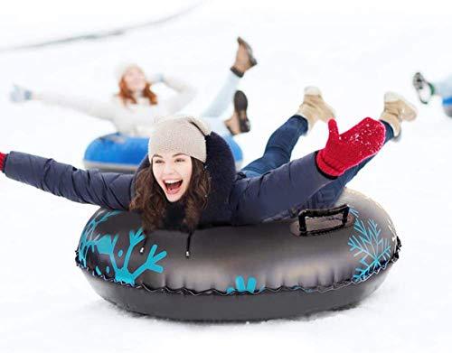 Ouumeis Inflable Nieve Tubo Trineo Tabla De Surf De Anillos De Esquí De PVC Resistente Al Frío Espesado Tubo De Nieve Inflable De Invierno para Trabajo Pesado De 47 '' con Asas